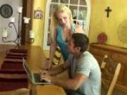 Big breasted blonde mature bitch Heidi slurping a large schlong with lust on her knees