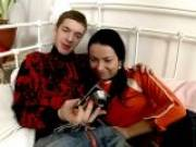 Brunette teenage honey Flavia getting slick cooshie screwed by a giant dick