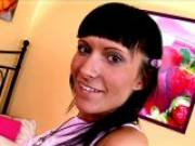 Amazing brunette Russian teen charmer Lusiya showing hot tits and getting tiny pussy fingered